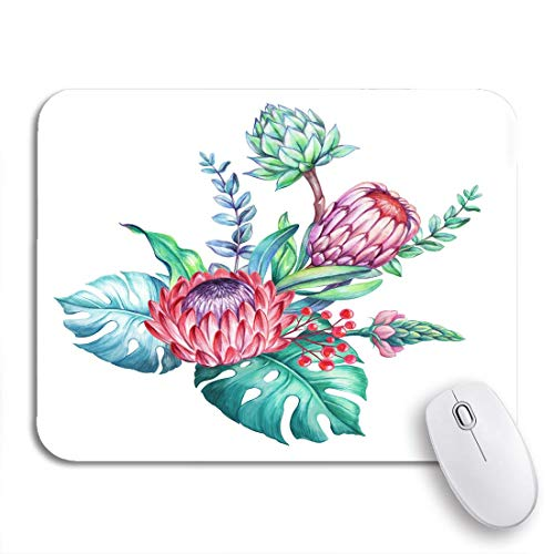 Gaming Mouse Pad Tropische Blumen Arrangement Exotische Natur Blumenstrauß Protea Monstera Rutschfeste Gummi Backing Computer Mousepad für Notebooks Maus Matten