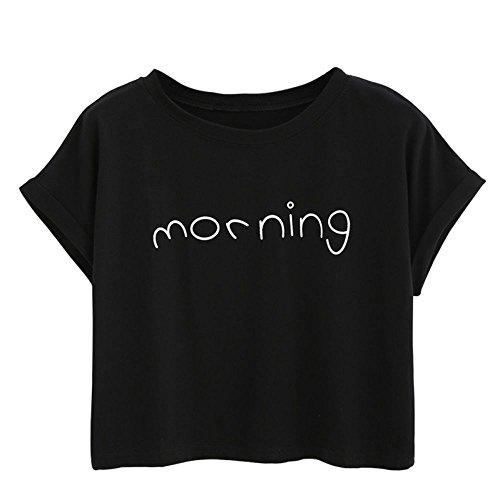 Damen Sommer Shirt, Teenager Mädchen Bauchfrei Crop Top Shirt Bluse Oberteil Kurzes Tank Top Hemd Frauen Kurzarm T Shirt Tops Pullover Sale (One Size, Schwarz)