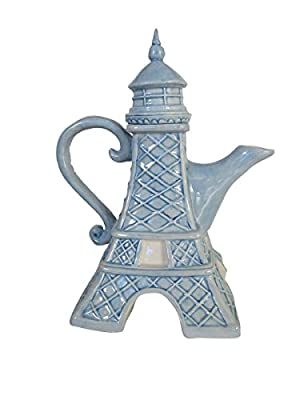 "Blue Sky Ceramic 7.75""X5.5""9.5"" Eiffel Tower Teapot"