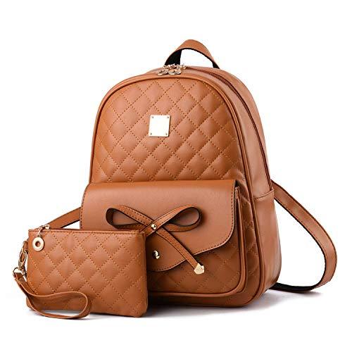 I IHAYNER Rucksack Damen PU Leder Mini Rucksäcke Damen 2 PCS Bowknot Süße Schulrucksack für Mädchen Frauen - Braun
