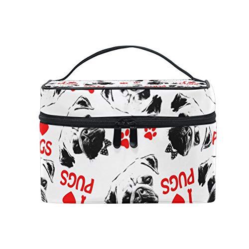 FANTAZIO bolsa de maquillaje barato negro rojo y blanco perro carlino patrón maquillaje organizador