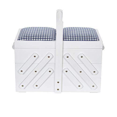 Prym 612578 Boîte à couture en bois M avec tissu Blanc