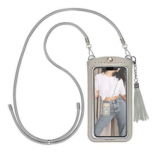 takyu Handy Umhängetasche, Mini Damen Crossbody Handytasche zum Umhängen für Smartphones (M,Grau)