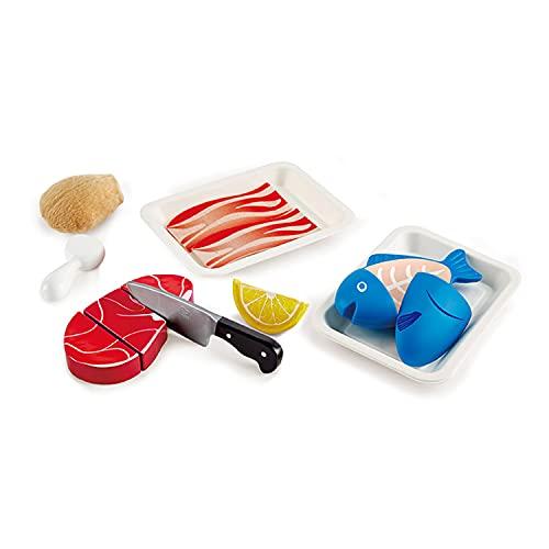 Hape Fisch & Fleisch Set von Hape| Fantasiespiel aus Holz Lebensmittel-Set für Kinder, Kochset mit Zutaten und Zubehör mit Klettverschluss