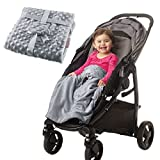 Non-Slip Stroller Blanket - Stays in Place, Off The Floor, Out of Stroller Wheels. Soft Baby Grey Blanket by Intimom for Infant and Toddlers, Universal Fit for All Stroller, Pram,Car Seat.