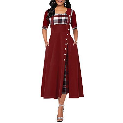 Elegante Lange Kleid-Frauen Frühling Plaid-Druck-Partei-Kleid Irregular Vintage-Kleider Damen Knopf neues Kleid Art und Weise,B,S