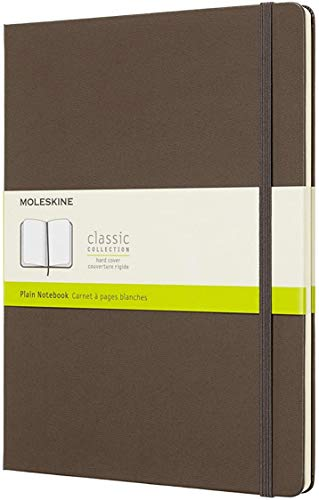 Moleskine Classic Notebook, Hard Cover, XL (7.5 x 9.5) Plain/Blank, Earth Brown, 192 Pages (QP092P14)