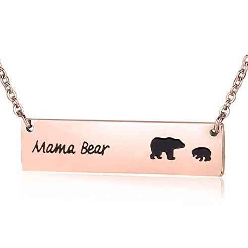 ENSIANTH Honey Family Mama Bear Bar Necklace Gifts