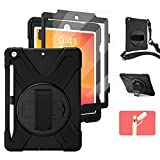 TSQ iPad 8th Generation Case, iPad 7th Generation Case w/ Pencil Holder& Screen Protector, iPad 10.2 Case for Kids, Heavy Duty Shockproof Rugged Protective Case w/ Stand/Strap for iPad 10.2 inch Black