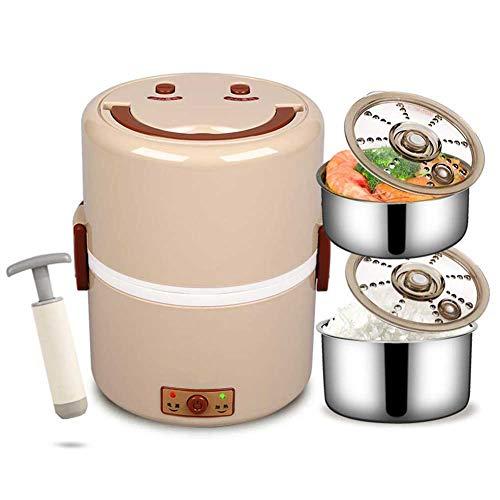 JKLJKL Dubbellaagse elektrische lunchbox, rijstkoker, verwarmde lunchbox, draagbare roestvrij stalen geïsoleerde lunchbox, bruin