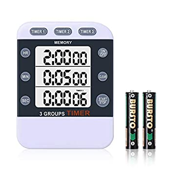 HomeMall Digital Dual Kitchen Timer Cooking Timer 3 Channels Count Up & Down Timer with Magnetic Back Large Display Adjustable Volume ON/Off Switch Stopwatch Battery Included