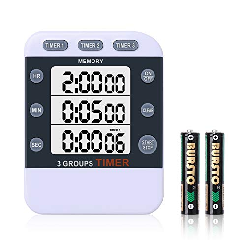 HomeMall Digital Dual Kitchen Timer, Cooking Timer, 3 Channels Count Up & Down Timer with Magnetic Back, Large Display, Adjustable Volume, ON/Off Switch Stopwatch, Battery Included