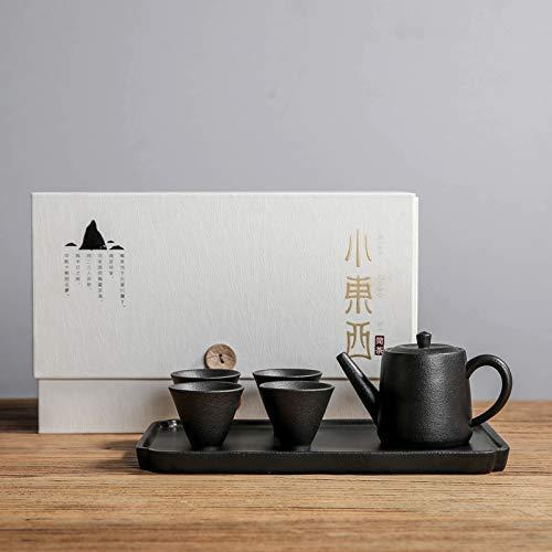 Novela Hervidor de cerámica Tetera de cerámica Conjunto de cerámica Potería negra One Pot Two Tazas Cuatro tazas Pequeño Té Té Kung Fu Tea Juego de té Bandeja Seco Bandeja Juego de té Caja de regalo,