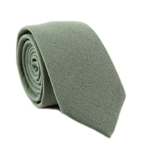 DAZI Men's Skinny Tie, Cotton Wool Linen Necktie, Great for Weddings, Groom, Groomsmen, Missions, Dances, Gifts. (Sage)