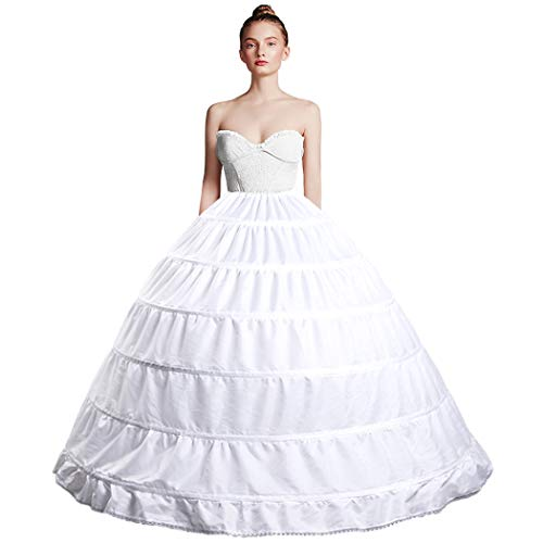 Full Shape 6 Hoop Skirt Ballgown Petticoat Underskirt Slip for Wedding Dress Quinceanera Gown Cosplay Dress Adjustable Waist