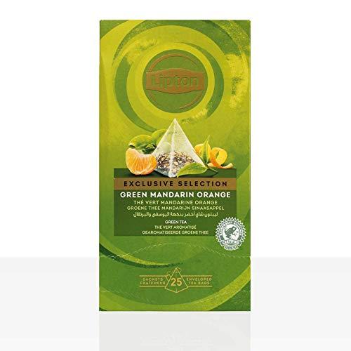 Lipton Grüner Tee, Mandarine Orange Pyramidbeutel, 1er Pack (1 x 25 Teebeutel)