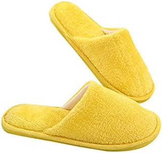 OUYAWEI Slippers Men Women's Soft Long Plush Solid Foam Silent Soles Winter Non-slip Indoor Slippers Yellow 38-39 suitable for 37-38 feet