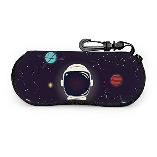 lymknumb Funda para gafas, Universo con estrellas planetas y casco astronauta gafas de sol vector, funda suave de neopreno ultraligera, con cremallera, estuche de gafas con mosquetón, funda portátil