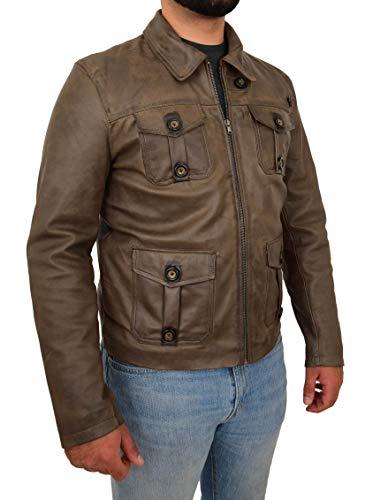 A1 FASHION GOODS Herren Braun Echtes Leder Westliche Jacke Jahrgang G9 Harrington Ausgestattet Reißverschluss Box Mantel Burnley (XXXL - EU 56)