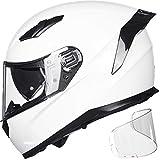ILM Motorcycle Snowmobile Full Face Helmet Pinlock Insert Anti-fog Dual Visor Motocross ATV Casco for Men Women DOT ECE (White, L)