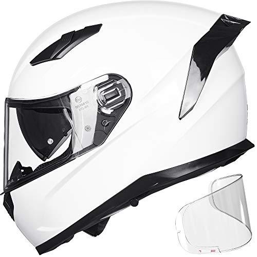 ILM Motorcycle Snowmobile Full Face Helmet Pinlock Insert Anti-fog Dual Visor Motocross ATV Casco for Men Women DOT ECE (White, XXL)