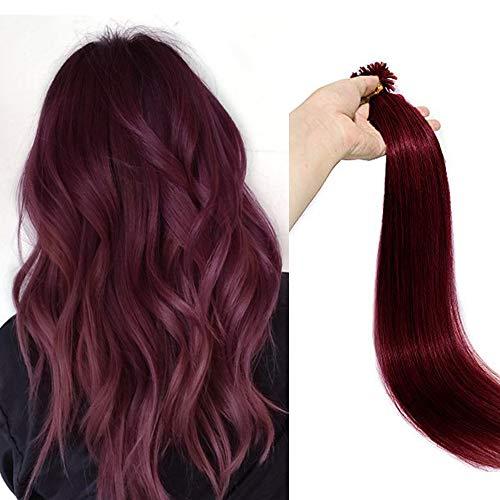 45cm - Extension de Pelo Natural U Tip Keratina Hair Extension 1g * 100 Mechas Cabello Humano Remy Human Hair - 99J# Vino Rojo