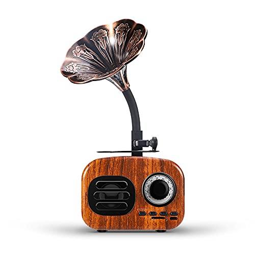 GDFFKS Radio Altavoz Bluetooth Retro, Radio FM de Madera de Nogal con Estilo clásico Antiguo, Altavoz portátil inalámbrico de Volumen Alto para el hogar, la Oficina