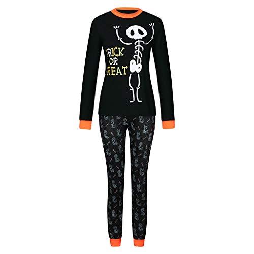 MAYOGO Pijama Halloween Padre Hijo Conjunto Camiseta Manga Larga y Pantalones Estampado Ropa Calaveras para Dormir Familiar Papá Bebe Mamá Ropa de Dormir Madre Hijo Trajes Casa 2Pcs