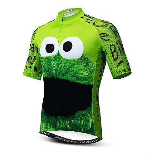 Weimostar Radtrikot Herren Fahrrad Top Kurzarm MTB Shirt Reißverschluss Mountain Road Kleidung Fahrradkleidung Summer Pro Team Sports Reiten Rennrad Trikot atmungsaktiv grün XL