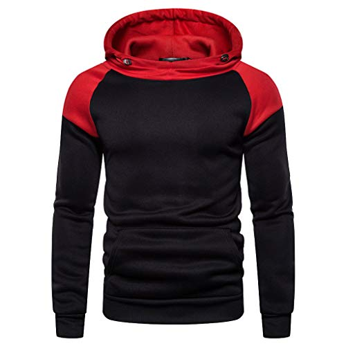 UJUNAOR Herren Mode Freizeit Oberteile Herbst Winter Langarm Patchwork Fleece Hooded Sweatshirt Outwear