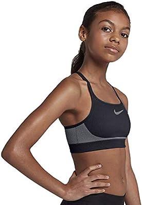 NIKE Girls' Seamless Sports Bra, Black/Wolf Grey/Wolf Grey, Small
