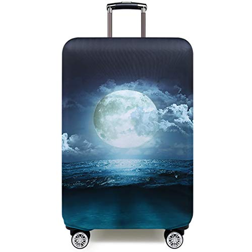 TRAVELKIN Travel Elastic Spandex Suitcase Protector Case, 18/24/28/32 Inch Suitcase Protective Cover, Thickened and Washable Luggage Cover (L(25'-28'luggage), Moonlight)