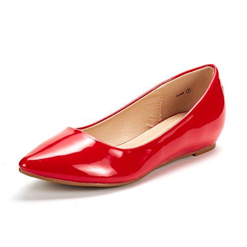 Dream Pairs Jilian Zapatos Planos Bailarina con Punta Cerrada para Mujer Rojo Charol 41 EU/10 US
