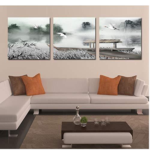 Triptychon Leinwand Puzzle 3 Stück China-Windsee-Wasser-Pavillon-Landschaft Moderne Frische Triptychon Bilder Wohnzimmer Schlafzimmer Dekorative Gemälde Niedlich Ölgemälde Portfolio-B1