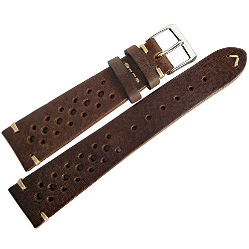 Fluco Hunter Racing Bracelet de Montre en Cuir Marron 20 mm