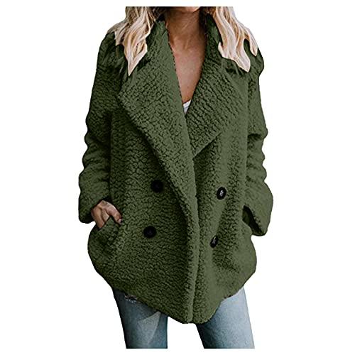 Vexiangni Chaqueta de invierno para mujer, de felpa de peluche, para mujer, corta, parte delantera abierta, de lana sintética, abrigo corto, cálido, cárdigan, tallas grandes, verde, L