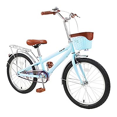 Karcle 20 inch Kids Bike, Boys Girls Bicyle for 6-13 Years Old Child 48-61 inch Tall, Cruiser Bike with Kickstand Basket, Kids Bicycle with Front & Rear Dual Hand Brake, Children Leisure Bicycle, Blue