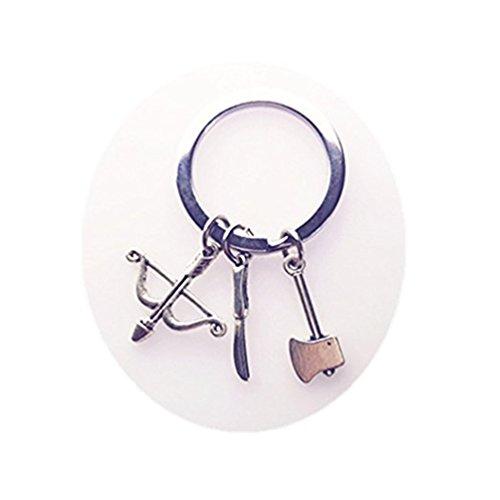 fhongaizhi Llavero de arco y flecha, llavero de plata, llavero de hacha, llavero de cuchillo