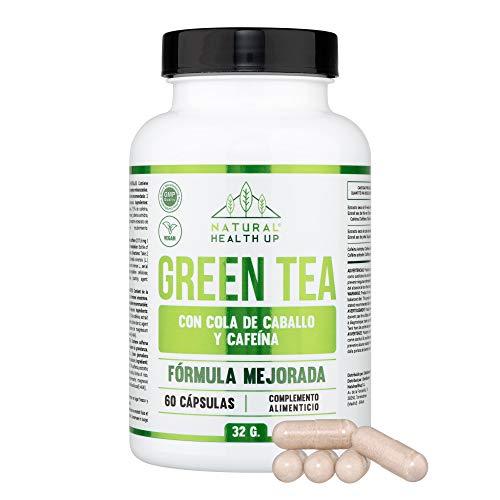 Té verde con cola de caballo y cafeína para eliminar la grasa acumulada - Adelgazante que contribuye a acelerar el metabolismo - 60 cápsulas – 100% vegano – Fórmula mejorada