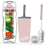 Instalite Fruit Infuser Water Bottle 1 Litre with BPA Free Tritan Material, Free