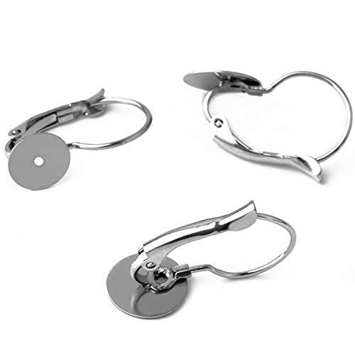 BOSAIYA GG1 20 unids Nuevos Pendientes de Acero Inoxidable Base en Blanco Ajuste 6mm / 8mm / 10mm French Ear Hook Jewelry Hacer Accesorios Tl622 (Size : 6mm)