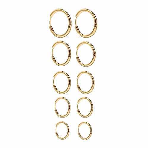Onnea 5 Pares Pendientes Aro de Acero Inoxidable para Mujer Oro Plata Oro Rosa, Diámetro 10 mm 12 mm 14 mm 16 mm 18 mm (Dorado)