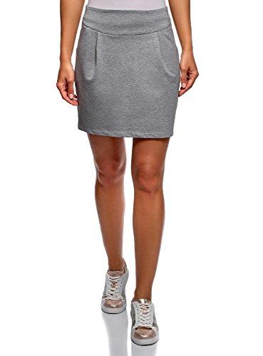 oodji Ultra Women's Zipper Jersey Skirt, Grey, 6