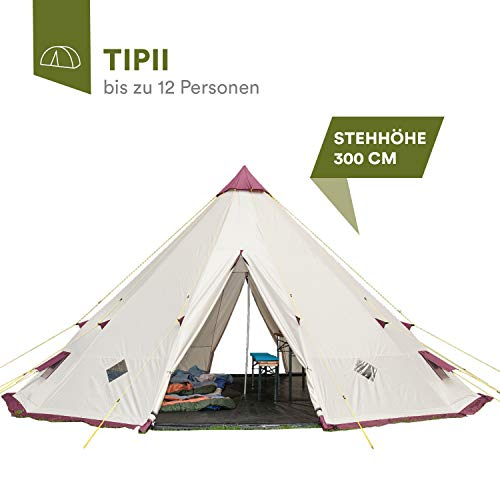 Skandika Teepee 301 Wigwam Style Indiana Tepee Tent, Sewn-In Groundsheet, 300 cm Peak Height, 3000 mm Water Column, Sand/Burgundy, 12-Person