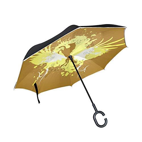 Norway Fox Arctic Animal Paraguas invertido de doble capa, mango en forma de C, paraguas plegable inverso, resistente al viento, paraguas grande de pie para uso al aire libre