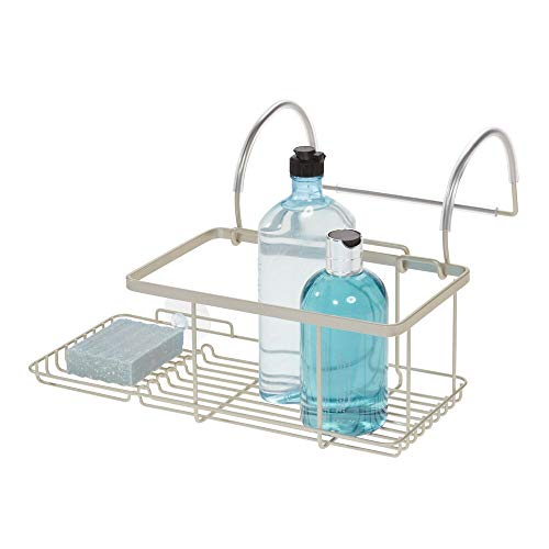Price comparison product image iDesign Drill Bathroom Storage,  Small Metal Hanging Tray,  Bath Caddy for Soap,  Cosmetics,  Books,  Tablet and Phone,  Matte Silver,  30.7 cm x 26 cm x 17 cm