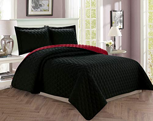 Elegant Comfort Luxury 3-Piece Bedspread Coverlet Diamond Design Quilted Set with Shams - All Season Heavy Weight- Hypoallergenic- Wrinkle & Fade Resistant- King/California King, Black/Burgundy