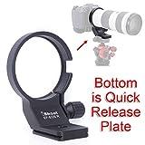 """iShoot CNCメタルのリング式三脚座 レンズサポート 三脚マウントリング for キヤノン マウントアダプター Canon Mount Adapter EF-EOS R, ボトムは ARCAタイプのクイックリリースプレート, 1/4"""" 3/8""""ネジ穴付き, ARCA-SWISS PMG タイプの雲台/ボールヘッド を対応"""