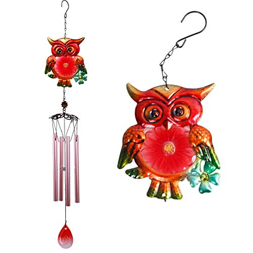 Owl Wind Chimes Outdoor Indoor Decor - 30In Owl Windchime, Mobile Romantic Glass Crystal Wind Chime for Home, Xmas Mom Gifts Windchimes, Room,Patio,Balcony, Festival, Garden Decoration(Red Owl Chimes)
