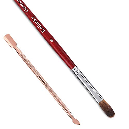 Acrylic Nail Brush and Cuticle Pusher,100% Kolinsky Hair Nail Art Brush for Acrylic False Nail Acrylic Powder, Red-Wood Pen, Salon Quality Non-Forked And Non-Clumping Nib (Size 8)